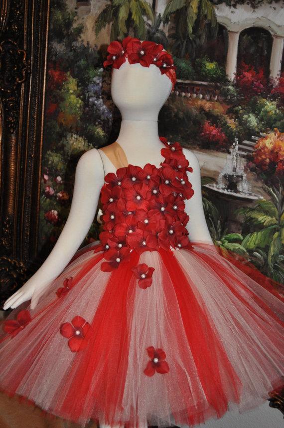 e985267f0 Red & white flower Tutu Dress - 0092 Store