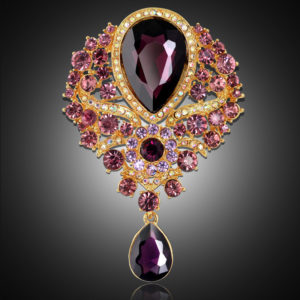 Diamond Alloy Brooch Glass Pendant Prooch Pin Accessories/ Best To use with scarfes ,Coats & Saree
