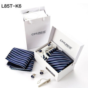 Mens Stripped Tie , Cufflinks , Pocket Square , tie clip Set Gift Box Formal Office Wedding Party L855T-K6