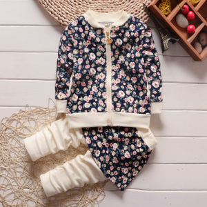 Navy pink flower printed Zipper + Shirt Trouser