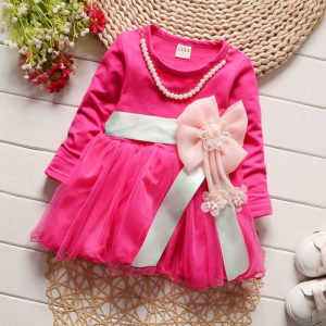 0-3 years Rose Bow Full sleeves frock