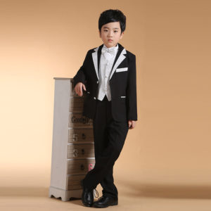 2-14 years Black & Silver Handsome 6 pcs Prince Suit