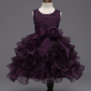2-6 years girl Plum 6 organza layers flairy Frock