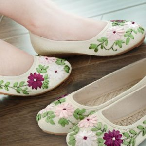 Flat embroidered ribbon work super Comfy  cloth shoes