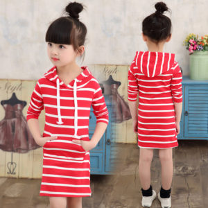 3-7 years Hooded Linning cotton long T shirt