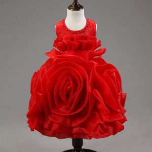 Red 3D rose organza Frock