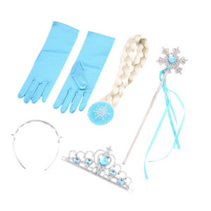 5 Pcs Cosplay Crown + Wig +Magic Wand & Gloves For Elsa  Costume