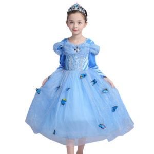 3-12 years Cindrella velvety long sleeves Princess Dress 0092store