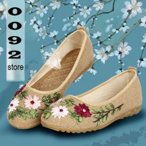 Summer Flat embroidered ribbon work super Comfy  cloth shoes