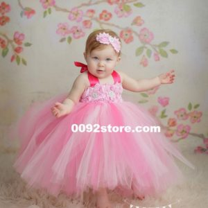 Pink Combination Flower petti Tutu Dress