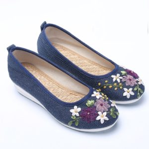 Navy embroidered ribbon White Sole Shoes