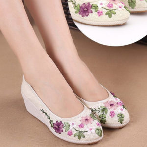 Ivory White high Heel embroidered ribbon Comfy Shoes