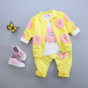3-4 years yellow baby girl three-piece suit