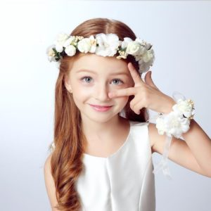 Off White Hand Made Elegant Floral Head Tiara & Wrist