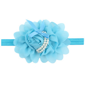 Hand Made light Blue Chiffon Flowers Pearls Head Band