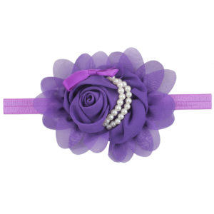 Hand Made Dark Purple Chiffon Flowers Pearls Head Band