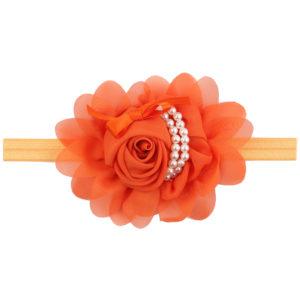 Hand Made Orange Chiffon Flowers Pearls Head Band