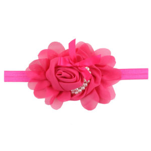 Hand Made Rose Chiffon Flowers Pearls Head Band