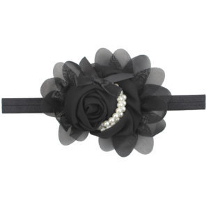 Hand Made Black Chiffon Flowers Pearls Head Band