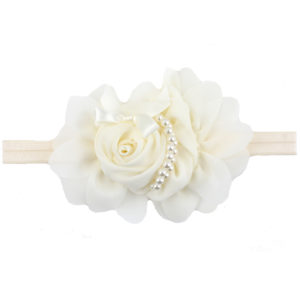 Hand Made off White Chiffon Flowers Pearls Head Band