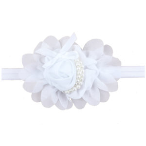 Hand Made White Chiffon Flowers Pearls Head Band