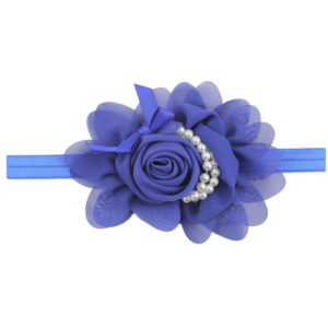 Hand Made Royal Blue Chiffon Flowers Pearls Head Band