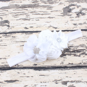 White 4 Hand made Flowers rheinstone Head bands