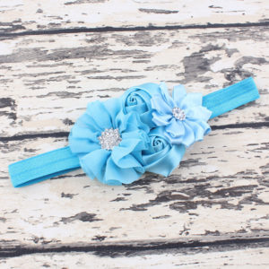 Ligh Blue 4 Hand made Flowers rheinstone Head bands
