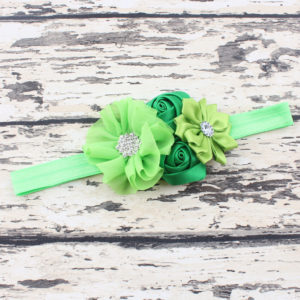 Green 4 Hand made Flowers rheinstone Head bands