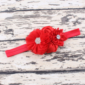 Red 4 Hand made Flowers rheinstone Head bands