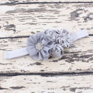 Gray 4 Hand made Flowers rheinstone Head bands