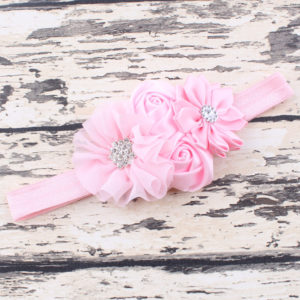 Pink 4 Hand made Flowers embellished with rheinstone Head bands