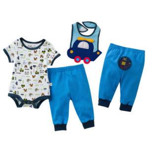 Baby Boy half sleeves embroidered Bib+romper+Pants