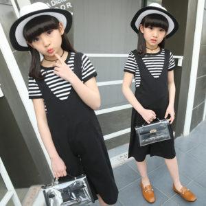 Korean short-sleeved striped T-shirt + wide leg pants Romper