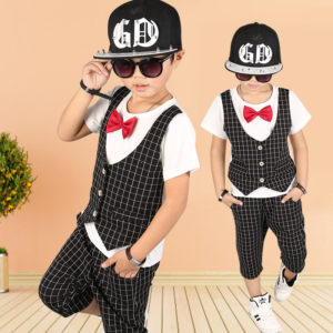 8 years boys summer cotton attached waist coat top + shorts