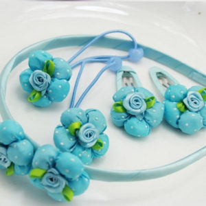 5 pieces Blue Fabric Flowers Hair accessories set