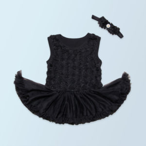 0-6 months Black Soft Cotton Floral Tutu Romper+ Head band