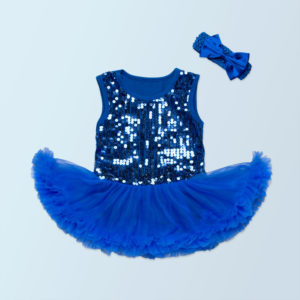 3-24 months Royal Blue Sequined soft Baby cotton Tutu Romper + head band