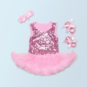 6-9 months Pink Sequined soft Baby cotton Tutu Romper + head band + booties