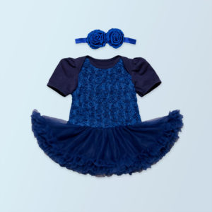 Blue Soft Cotton Floral Tutu Romper+ Head band