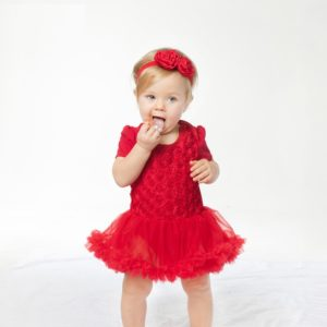 6-24 months Red Soft Cotton Floral Tutu Romper+ Head band