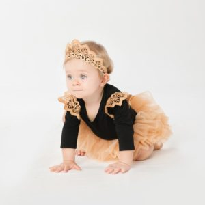 Princess Baby cotton lace Black romper + Golden Tutu + lace crown head band