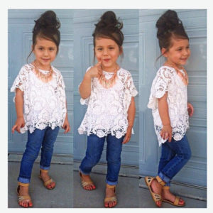 4 & 8 Years girls lace jacket + vest + jeans suit three sets