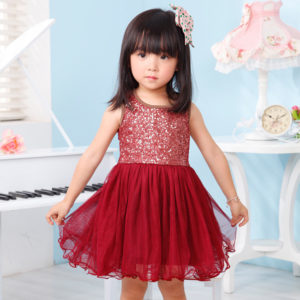 2-7 years Cotton upper body mahron sequined net frock