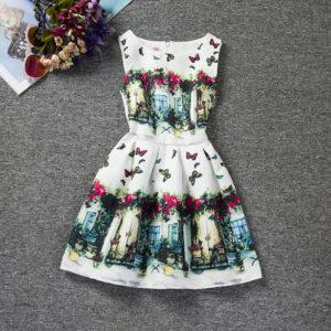 8-10 years girl retro print scenery skirt