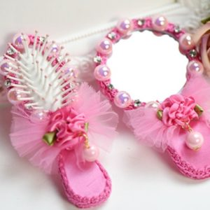 Cute princess pearl rose mini  mirror comb in gift packing suit