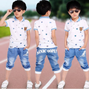 7-8 years boys summer cotton White Shirt & blue trouser