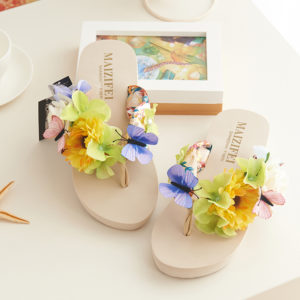 Summer simulation butterfly flowers beach women slippers
