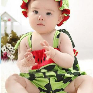 0-2 years baby watermelon soft cotton Romper & Hat