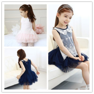 3colors 2-4 years girl Embroided Net Cake Skirt